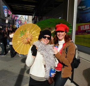 Monica is under the Yellow Mummer's Umbrella
